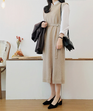 belted long DRESS (울80%)