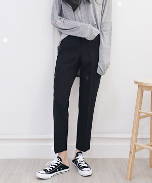 black slim slacks