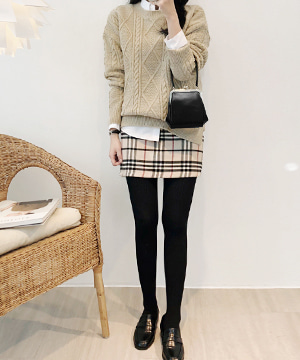 girl-beige check mini SK (SALE)